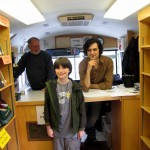 Jojo, hanging out with Mark Oakley on the bookmobile...
